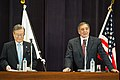 Secretary of Defense Panetta at a Press Conference with Japan's Defense Minister Morimoto (7995086089).jpg