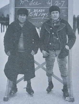Fen skating - Gutta Percha See and Turkey Smart (right) in 1895.