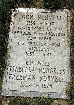 John Norvell - Senator John Norvell Grave, Elmwood Cemetery, Detroit, Michigan