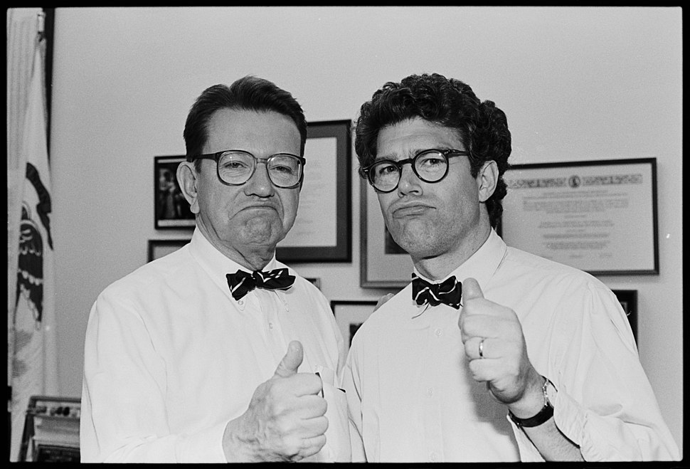 Senator Paul Simon and comedian Al Franken