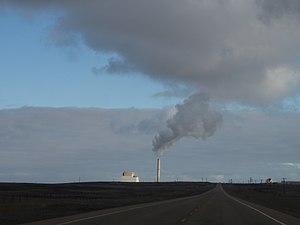 Alberta electricity policy - The Sheerness Generating Station, near Hanna. Commissioned in 1986, the 760-MW coal-fired power plant is a joint venture between ATCO and TransAlta.