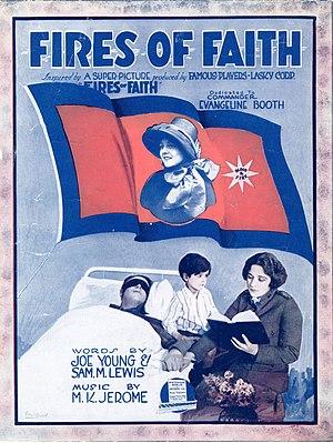 Fires of Faith - Film still on sheet music cover