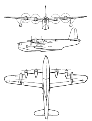An orthographically projected diagram of the Sunderland I/II