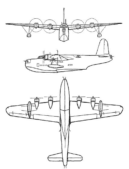 Short Sunderland 3view drawings