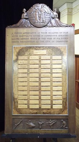 Champions Day - Plaque featuring President FDR's signature as well as the signatures of the Governor's of all 48 states in 1936