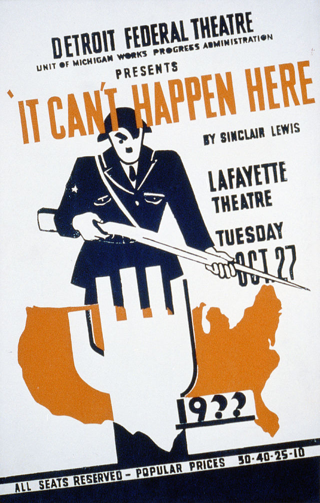 Sinclair Lewis It Can't Happen Here 1936 theater poster