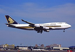 Singapore Airlines B747-412 (9V-SMK) landing at Newark Liberty International Airport
