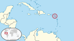 محل وقوع  سینٹ ایوسٹائیس  (circled in red)in the Caribbean  (light yellow)