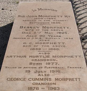 George Cummins Morphett - Gravestone at West Terrace Cemetery.