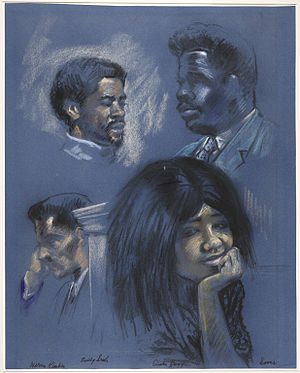 New Haven Black Panther trials - Courtroom portraits including Huggins, Kimbro, Seale and Sams, 1970.