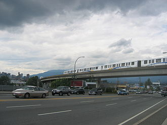 SkyTrain (Vancouver) - A Mark II train travelling along the Expo Line between Commercial–Broadway station and Main Street–Science World station