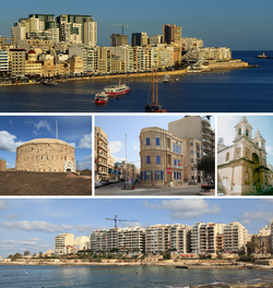 From top: Skyline in the Strand and Tigné Point, Fort Tigné, Lombard Bank building, Stella Maris Church, skyline in Tower Road