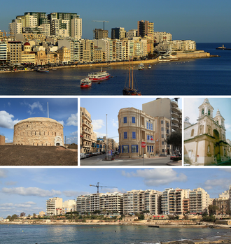 Sliema - From top: Skyline in the Strand and Tigné Point, Fort Tigné, Lombard Bank building, Stella Maris Church, skyline in Tower Road