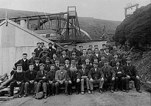 Snaefell Mine - Miners pictured at the Great Snaefell Mine, 1897. The redoubtable Captain Kewley pictured front center.