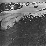 Snow River Glacier, terminus of valley glacier with firn line in the midground, September 3, 1977 (GLACIERS 6860).jpg
