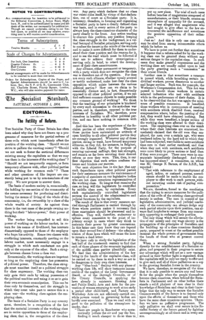 Impossibilism - Socialist Standard October 1904 Editorial The Futility of Reform