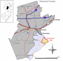 Map of Somerset CDP in Somerset County. Inset: Location of Somerset County in New Jersey.