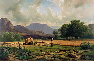 Adolf Heinrich Lier - Grain Harvest in the Mountains (1857)