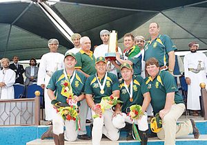 Tent pegging - South African team with World cup trophy 2014