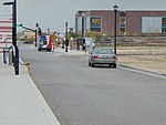 South across Grandville Ave at Daybreak Parkway station bus stand, Apr 16.jpg