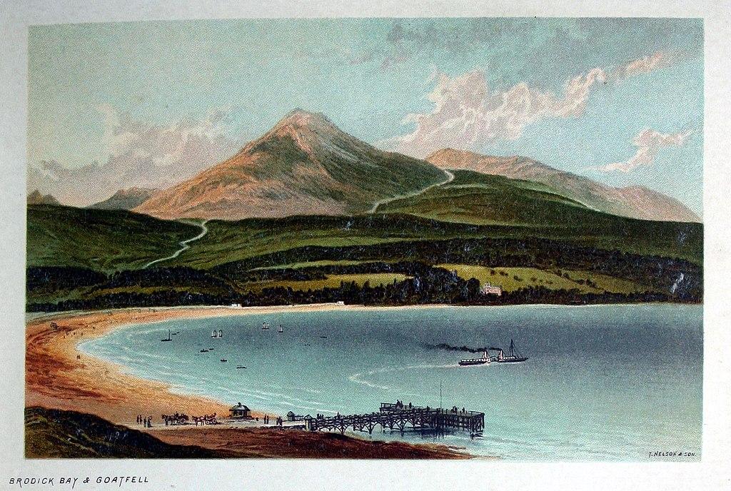 Colline du Goat Fell, sommet principal de l'Isle d'Arran en Ecosse vers 1889.