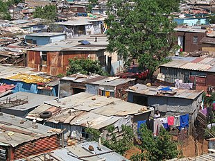 Shanty town housing in Soweto, South Africa