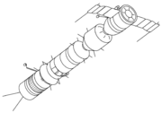 Soyuz A-B-C circumlunar concept. The drawing shows Soyuz-A (right), Soyuz-B booster, and Soyuz-C tanker with twin whip antennae (left)