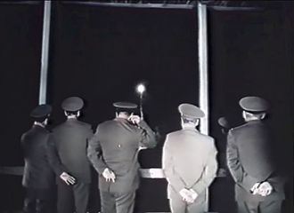 Launch escape system - Soviet officers watch as the Soyuz T-10 capsule aborts from the launch pad.