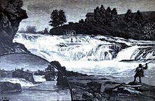 Litografia przedstawiająca upadki Spokane w 1888 r.