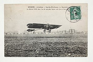 Aircraft flight control system - Blériot VIII at Issy-les-Moulineaux, the first flightworthy aircraft design to have the initial form of modern flight controls for the pilot