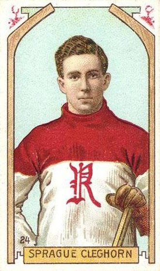 Sprague Cleghorn - Cleghorn displayed on a hockey card, c. 1911