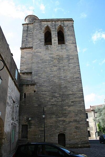 Saint-Thibéry (Hérault): Tour-clocher à l'entrée de l'abbaye, construite entre 1520 et 1530.
