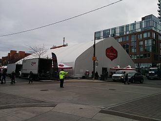 St. Lawrence Market - Temporary building for St. Lawrence Market North in 2015.
