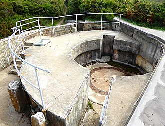 1st Cornwall (Duke of Cornwall's) Artillery Volunteers - The excavated and restored eastern gun emplacement at At Anthony Battery.