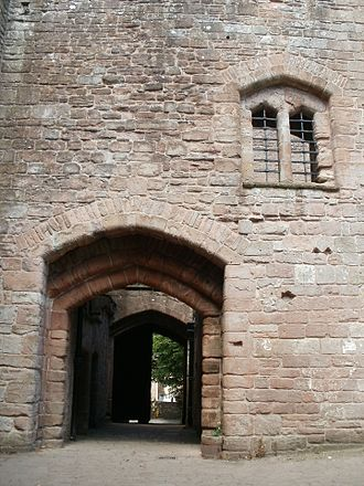 St Briavels Castle - The gatehouse passageway, uniquely defended with three portcullises.