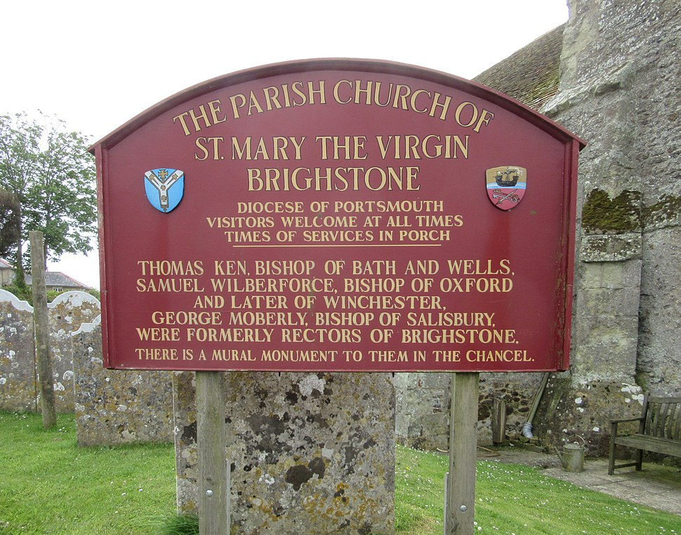St Mary the Virgin's Church, Main Road, Brighstone (May 2016) (Signboard)