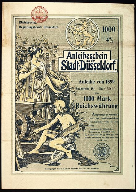 Bond of the town Dusseldorf, issued 26. July 1899 Stadt Dusseldorf 1899.jpg