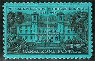 Gorgas Hospital - Canal Zone postage stamp commemorating 75th Anniversary of Gorgas Hospital