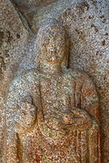 Standing Buddha Triad Carved on the Rock in Donmun-ri, Taean 05.JPG