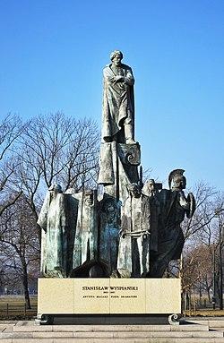 Stanisław Wyspiański monument (1982 by Marian Konieczny), May 3 Av, Kraków, Poland.jpg