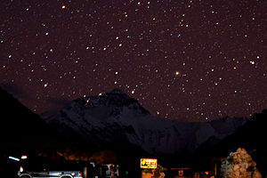 English: Starry Night at Mount Everest. Camps ...