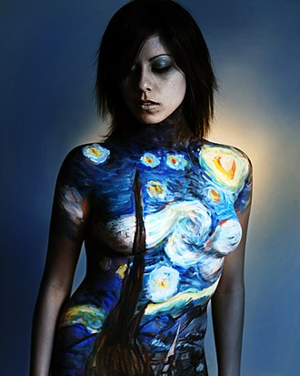 Body painting - Reproduction of Vincent van Gogh's The Starry Night as body painting by Danny Setiawan