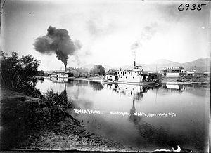 Steamboats of the Columbia River, Wenatchee Reach - Steamboats at wharf at Okanogan, Washington, May 1909