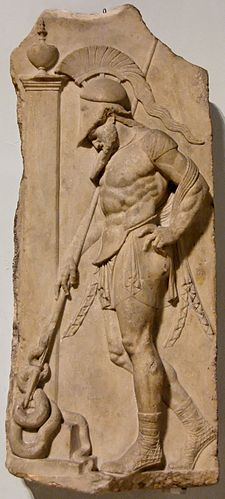 Roman Neo-Attic stele depicting a warrior in a muscle cuirass, idealizing the male form without nudity (1st century BC) Stele warrior BM GR1905.10-23.1.jpg
