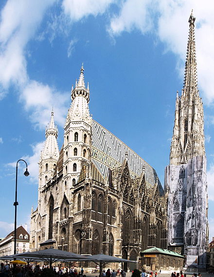 St. Stephen's Cathedral, Vienna, used as the informal headquarters of the Austrian resistance by Niklas Graf Salm, appointed head of the mercenary relief force. Stephansdom B.jpg