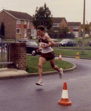 Steve Jones (runner) - Steve Jones winning the Swindon (UK) Half Marathon in October 1984