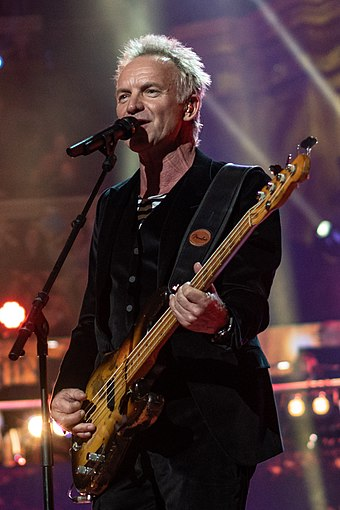 Sting, principal songwriter, lead singer and bassist for English rock band The Police Sting in April 2018.jpg