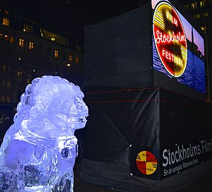 Stockholm International Film Festival - Ai Weiwei's ice sculptures at Norrmalstorg during the Stockholm Film Festival 2014