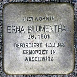 Photo of Erna Blumenthal brass plaque