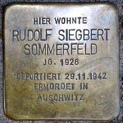 Photo of Rudolf Siegbert Sommerfeld brass plaque